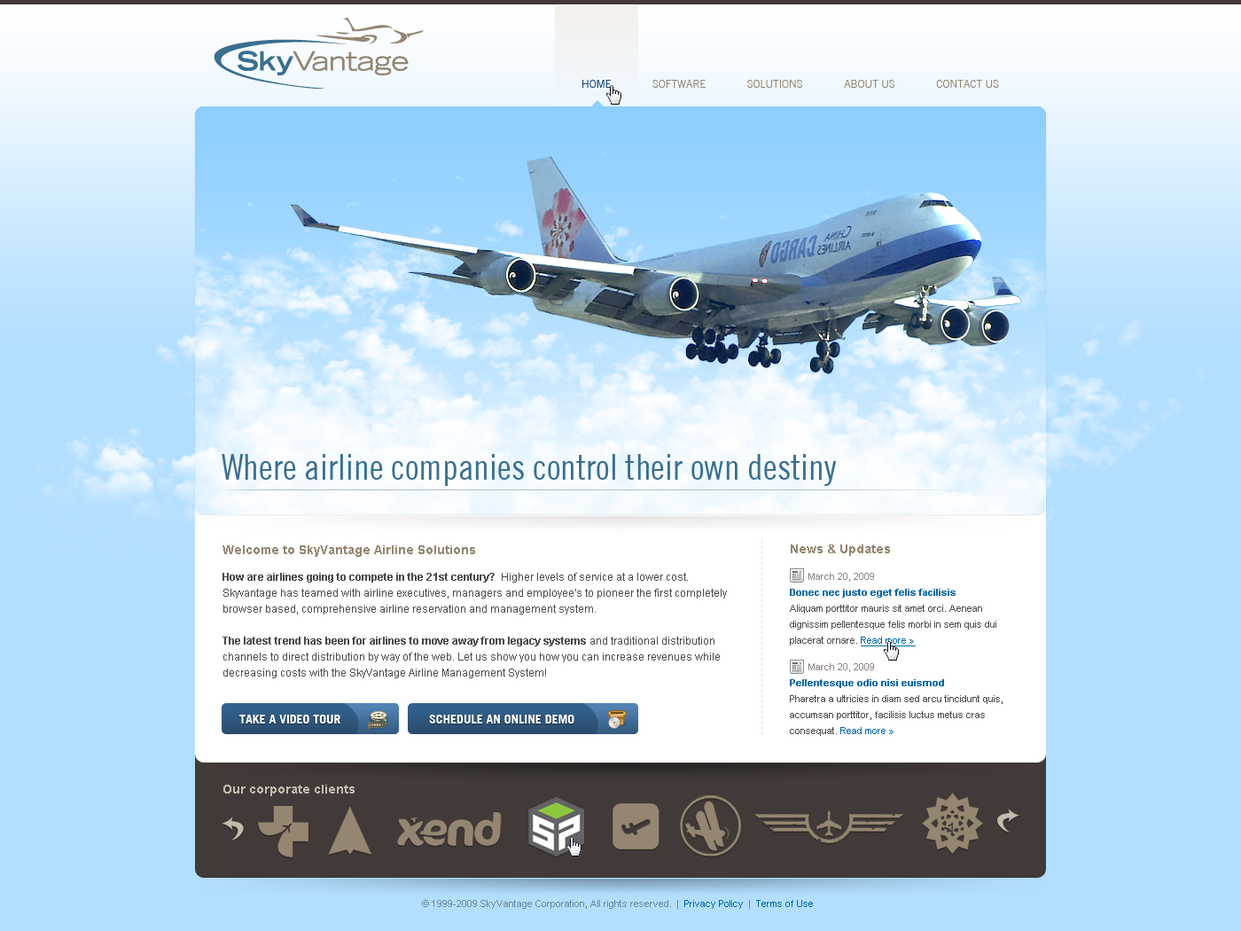 SkyVantage Airline Solutions Website redesign, a Web